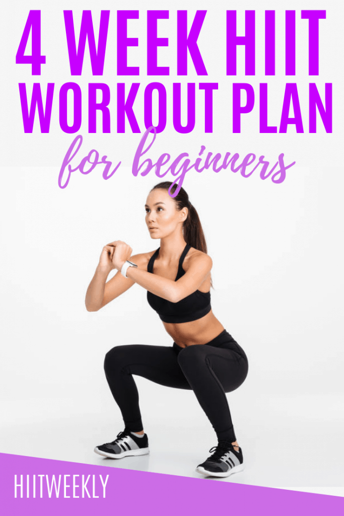 Improve your fitness and lose weight with our 4 week workout plan for beginners that takes you through body weight only exercises that you can do at home. No equipment 4 week workout routine for beginners.