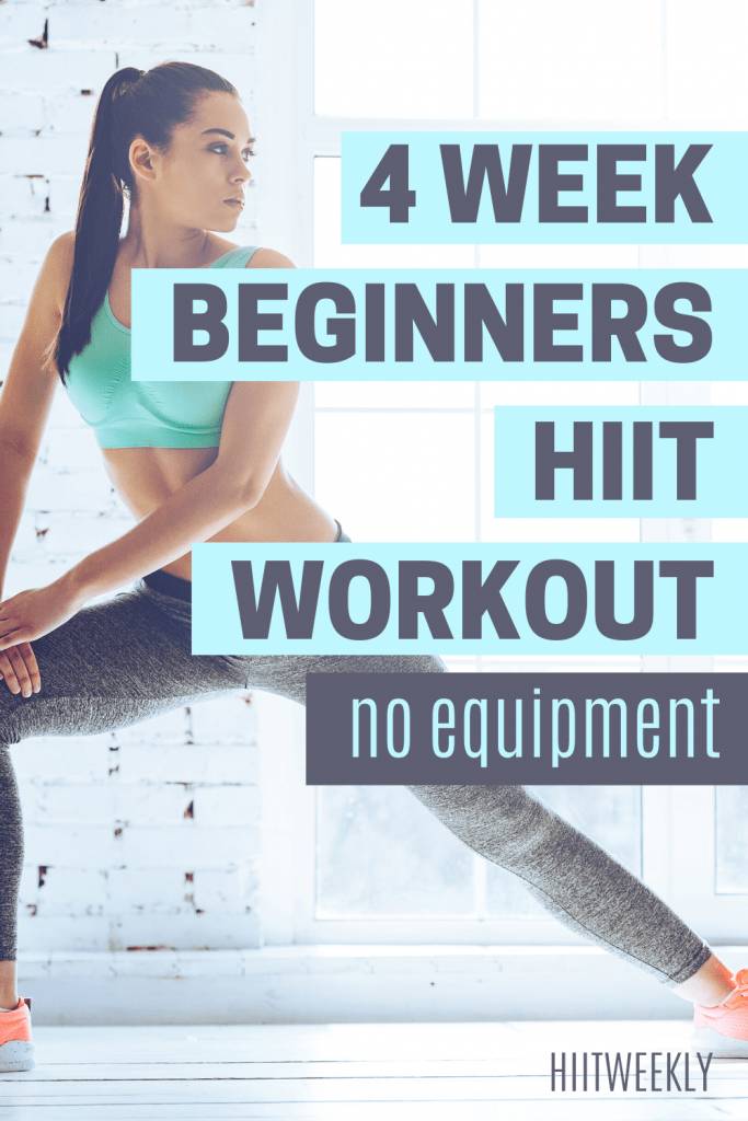 4 week progressive HIIT workout plan for absolute beginners who want to improve fitness and start losing weight at home. Do this 4 week workout plan at home with no equipment.
