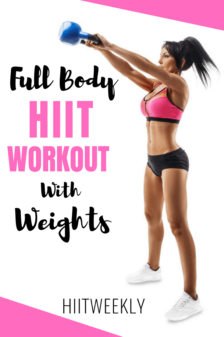 Get your sweat on with this 1000 calorie full body HIIT workout with weights. Nothing burns more calories than a weights HIIT workout. #fullbodyhiit #hiitwithweights