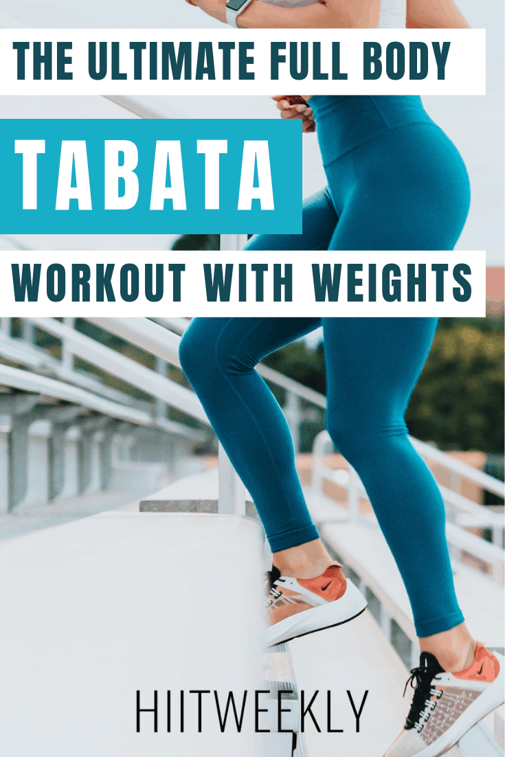 20 minute Full body Tabata workout with weights that can be done at home or the gym with dumbbells and a kettlebell.