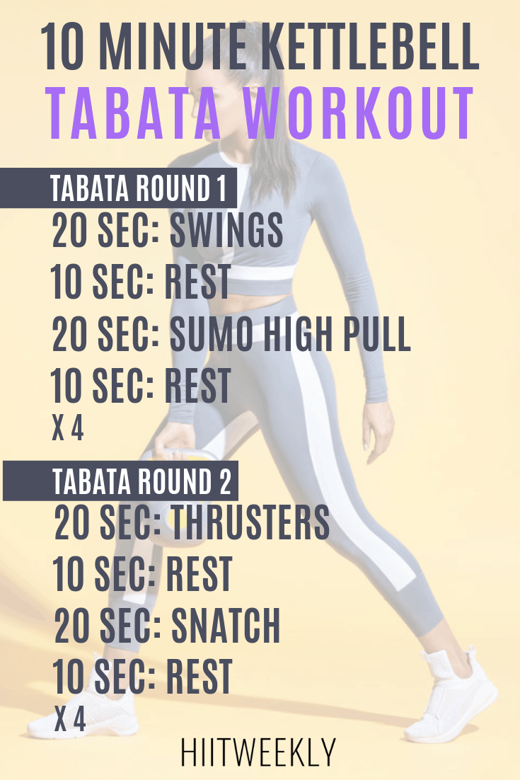 10 minute Tabata workouts with kettlebells that you can do at hojme. the plan consists of 2 Tabata workouts for a quick fat burning workout.