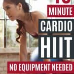 Get your sweat on with this quick 10 minute cardio HIIT workout that you can do at home with no equipment.