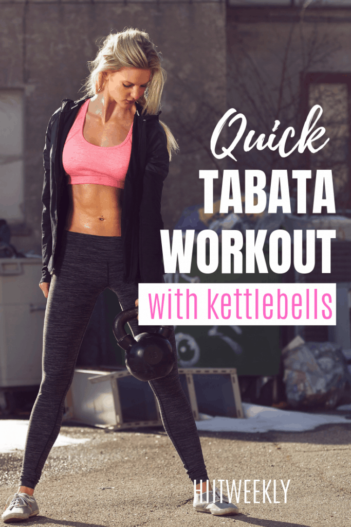 Get shredded with this quick 10 minute Tabata workout using kettlebells and bodyweight exercises. Do this Tabata workout 4 days a week for a tighter more toned body.