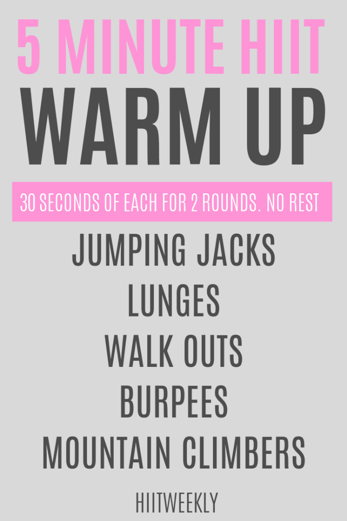 Do this 5 minute warm up before your HIIT and home cardio workouts to reduce your risk of injury and increase performance.