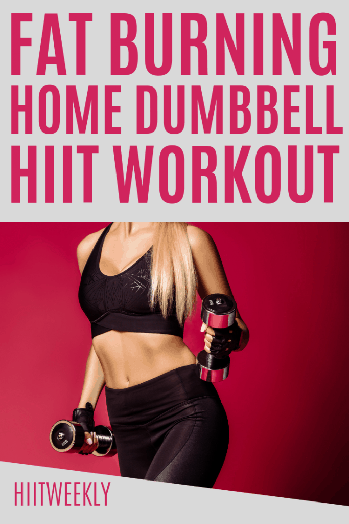 Light up your workout routine with this fat burning home HIIT workout with weights including dumbbells. Full body workout with weights to lose weight.
