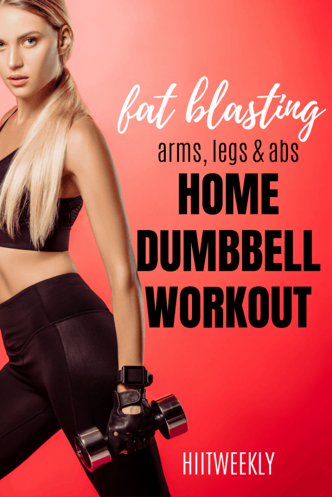 Blast fat and get in great shape with this quick home workout. All you need is a pair of dumbbells and a little motivation. #homedumbbellworkout #homeworkout
