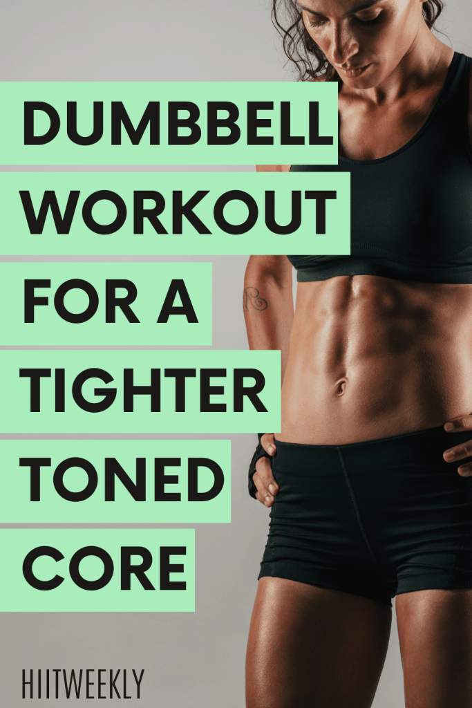 Get tighter more defined abs with this at home core workout that uses just one dumbbell.