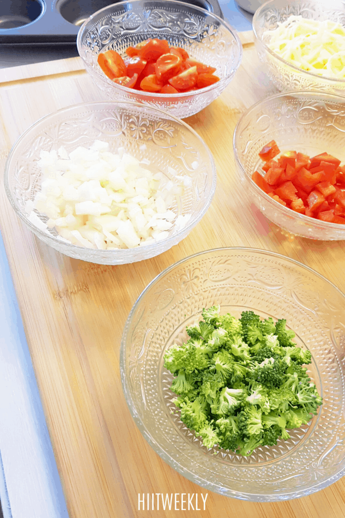 Ingredients to make egg muffins. Breakfast egg muffins, egg cups.