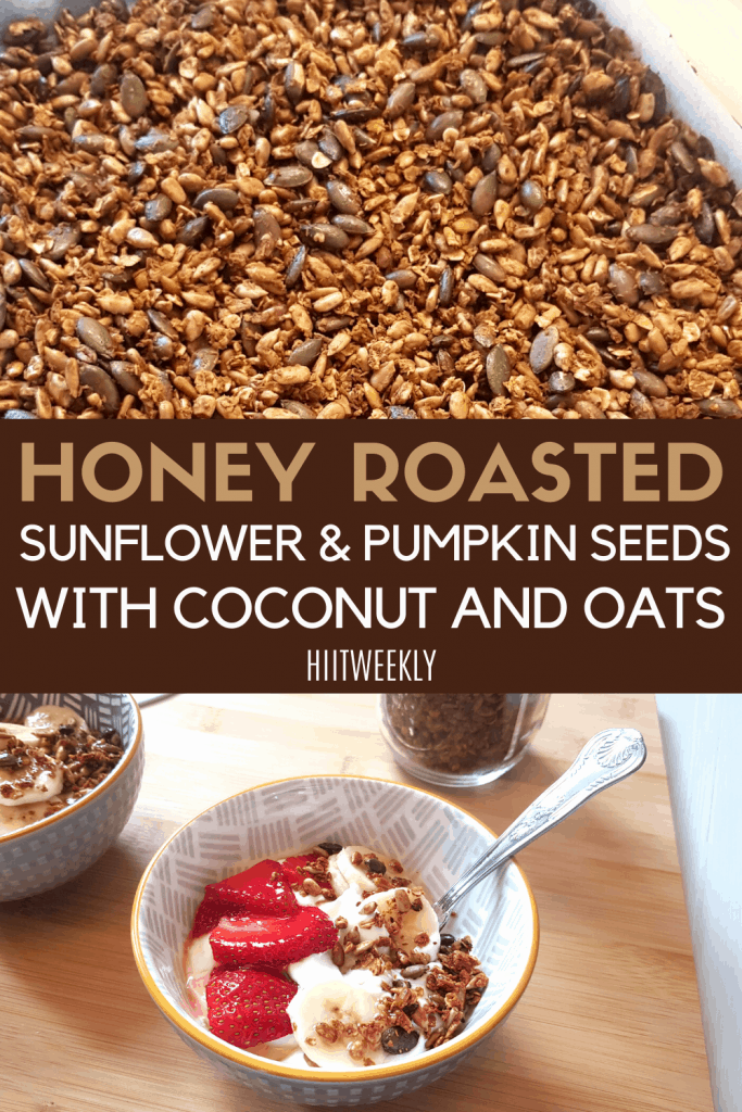 Enjoy these honey roasted sunflower coconut and pumpkin seeds on your favorite healthy yoghurt or as a stand alone protein snack. Get the recipe here.