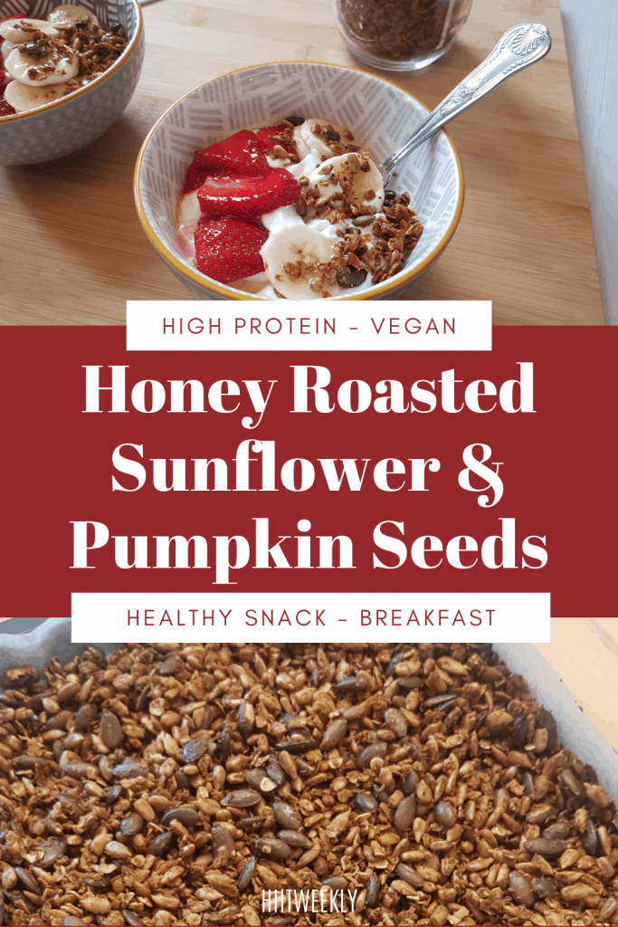 Honey Roasted Sunflower and Pumpkin Seeds are a healthy natural way to enjoy sweet crunchy seeds as part of your breakfast ontop of yogurt or as a high protein tasty snack option.