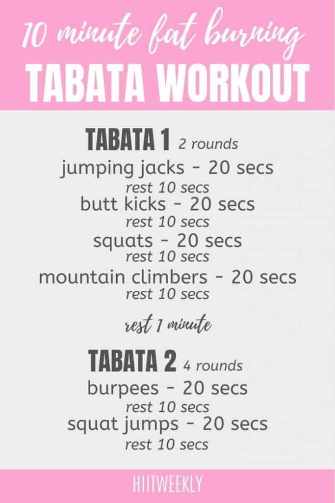 At home full body tabata workout to burn fat with no equipment. 10-minute workout.